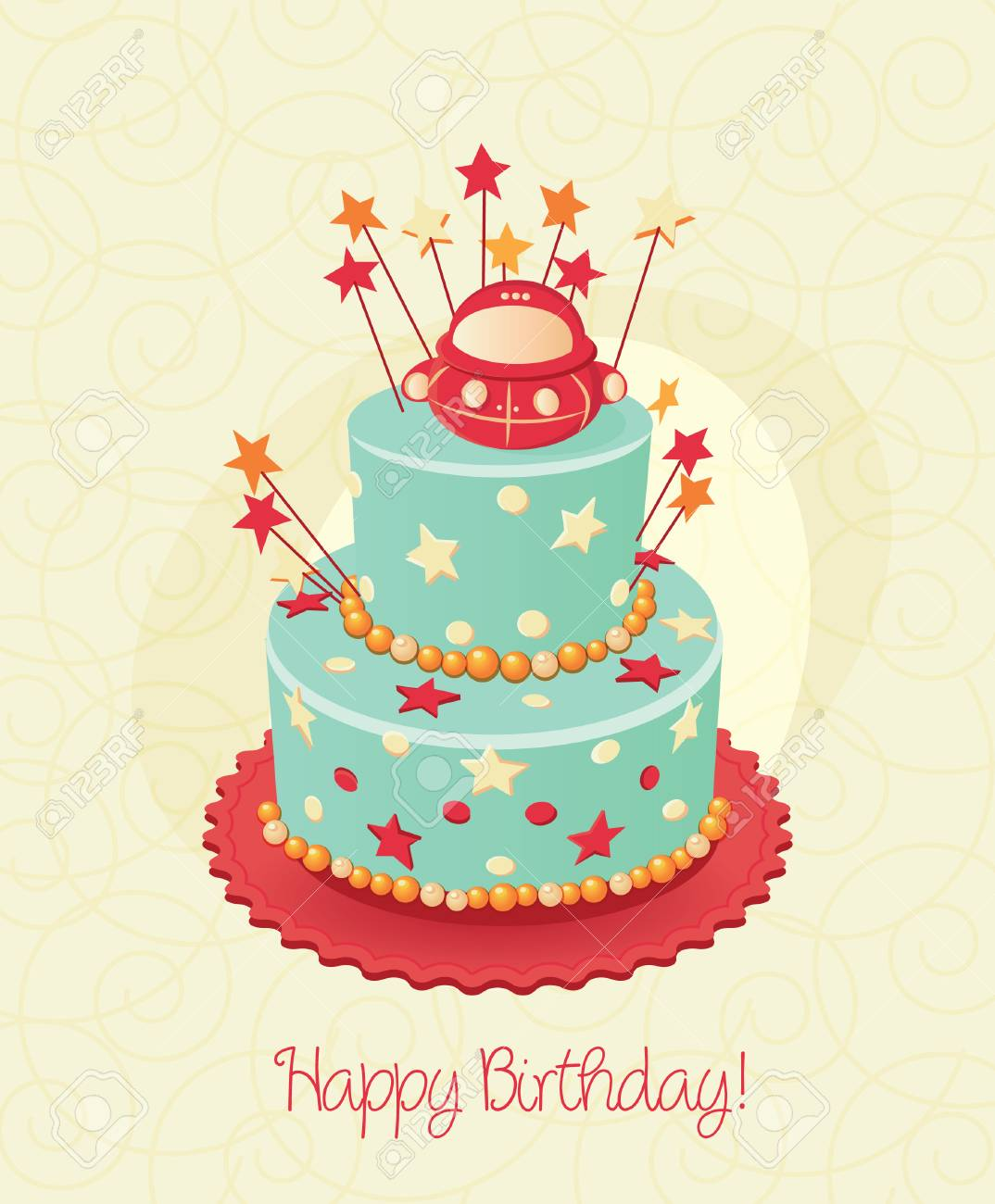 Birthday Cake Poster Vector Candle Royalty Free Cliparts