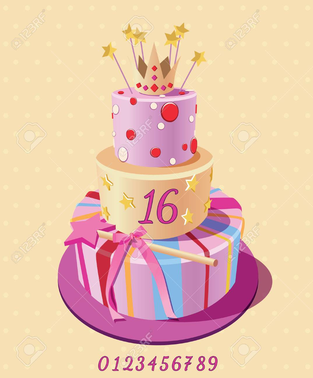 Birthday Cake Poster Vector Candle Royalty Free Klipartlar