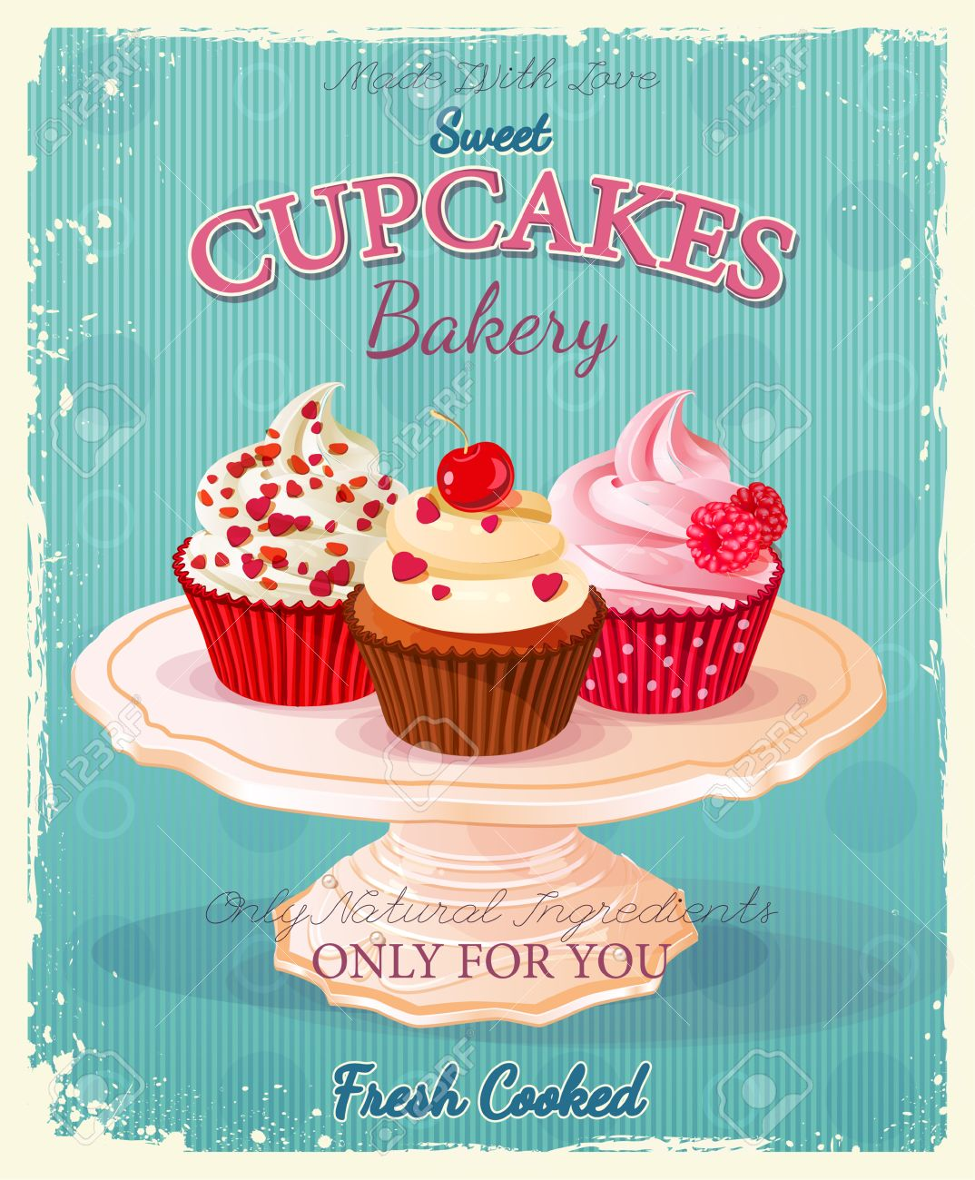 Cupcakes. Poster In Vintage Style. Wedding And Birthday Sweets ...