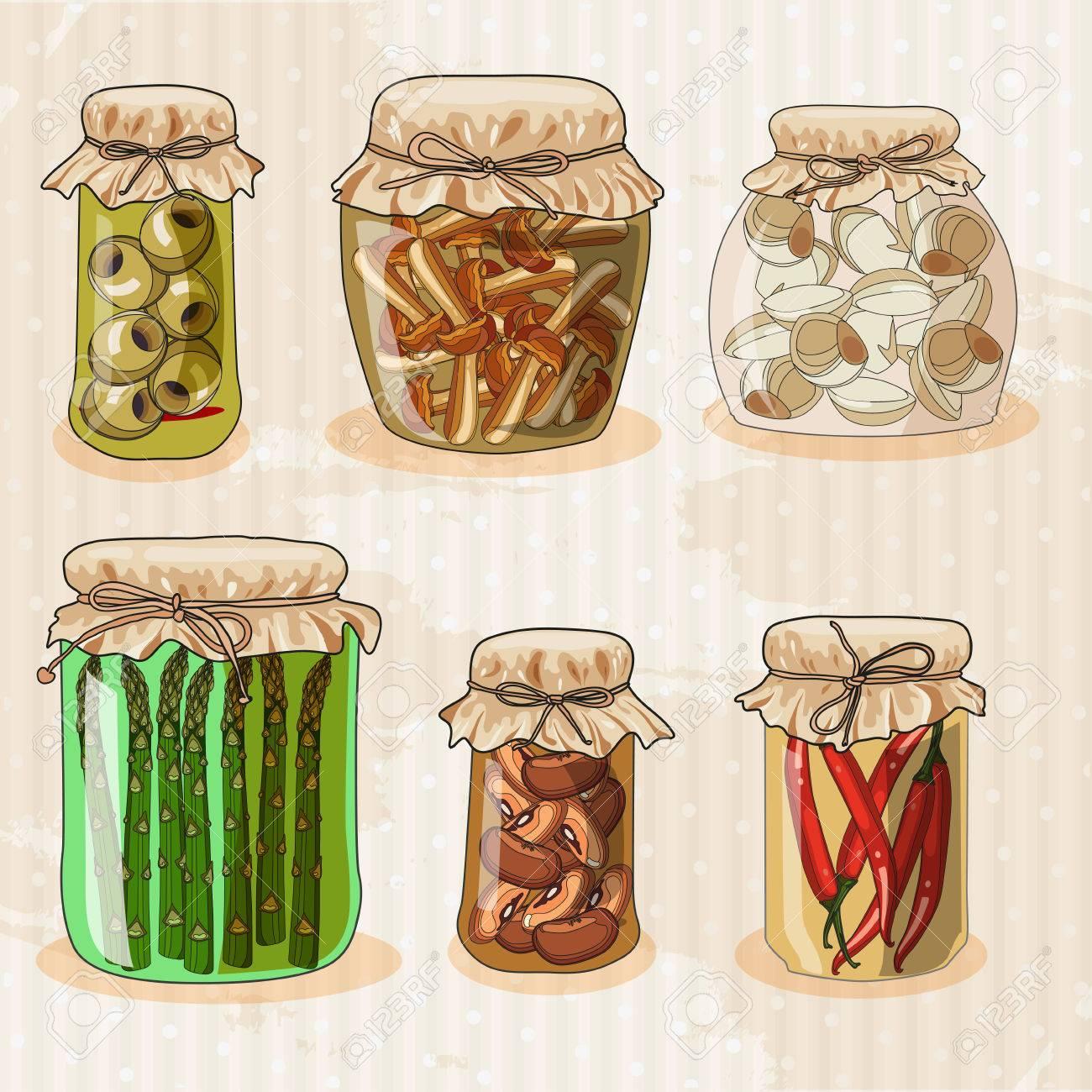Jars Drawing Set of Jars With Vegetables