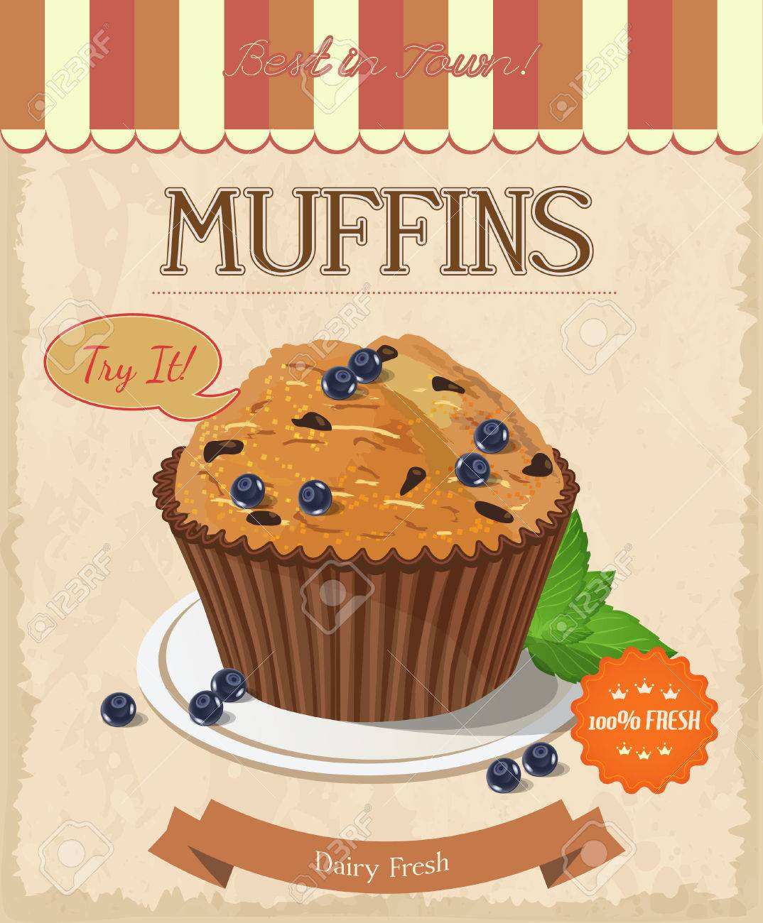 Blueberry Muffin. Poster In Vintage Style. Royalty Free Cliparts ...