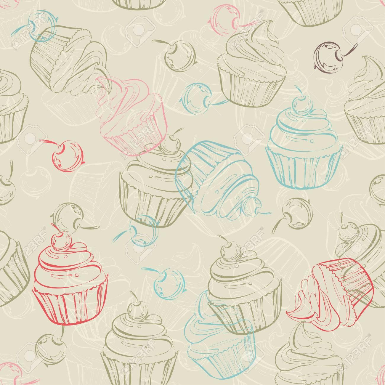 Nahtloses Muster Mit Susse Kleine Kuchen Und Beeren Im Vintage Stil