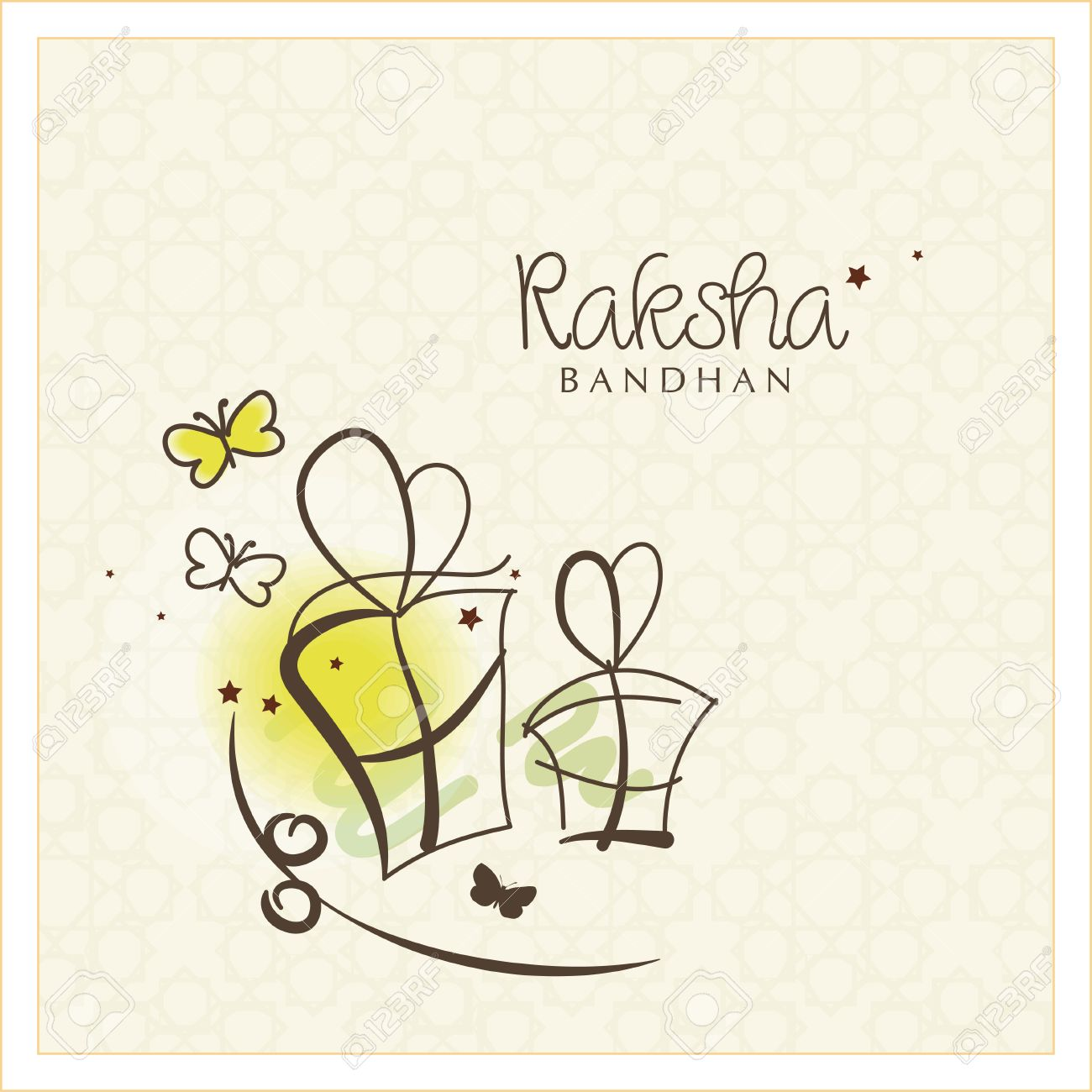 Beautiful Greeting Card Design For The Indian Festival Raksha