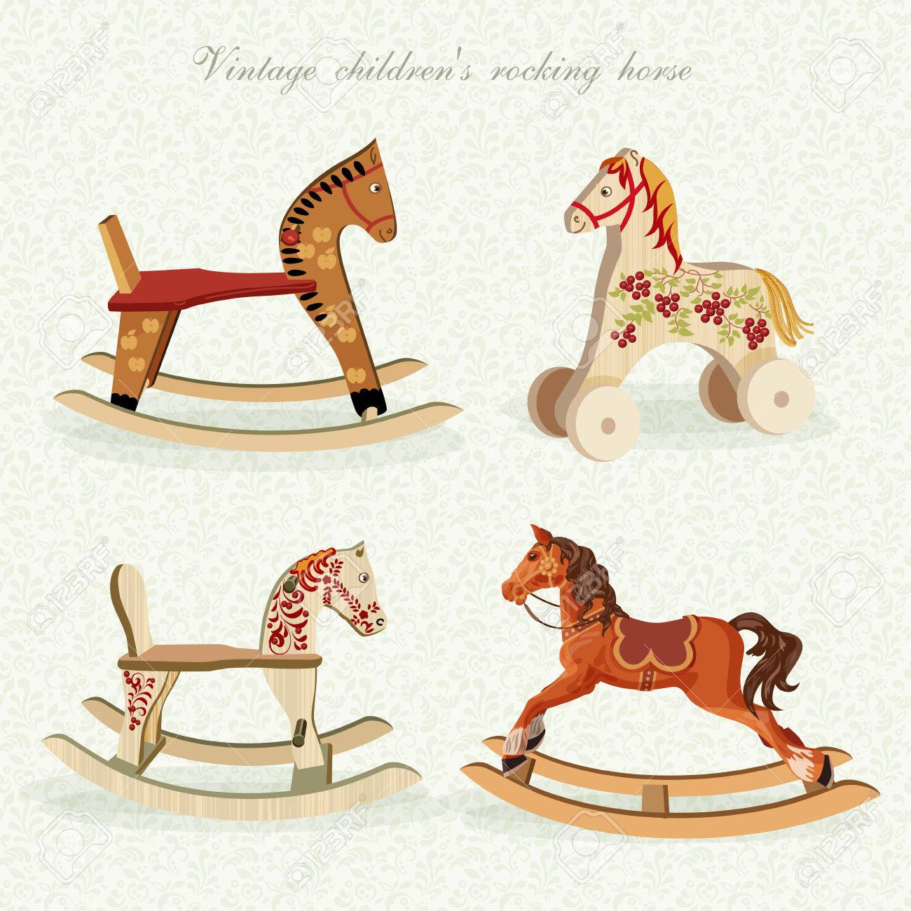 Set With Rocking Horses In Vintage Style Royalty Free Cliparts Vectors And Stock Illustration Image 35042992