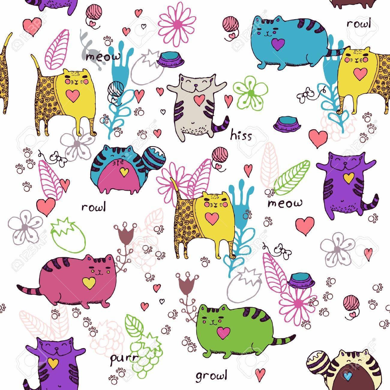 Gatos Sin Patrón En El Estilo De Dibujo. Gato Y Gatito. Diseño De ...