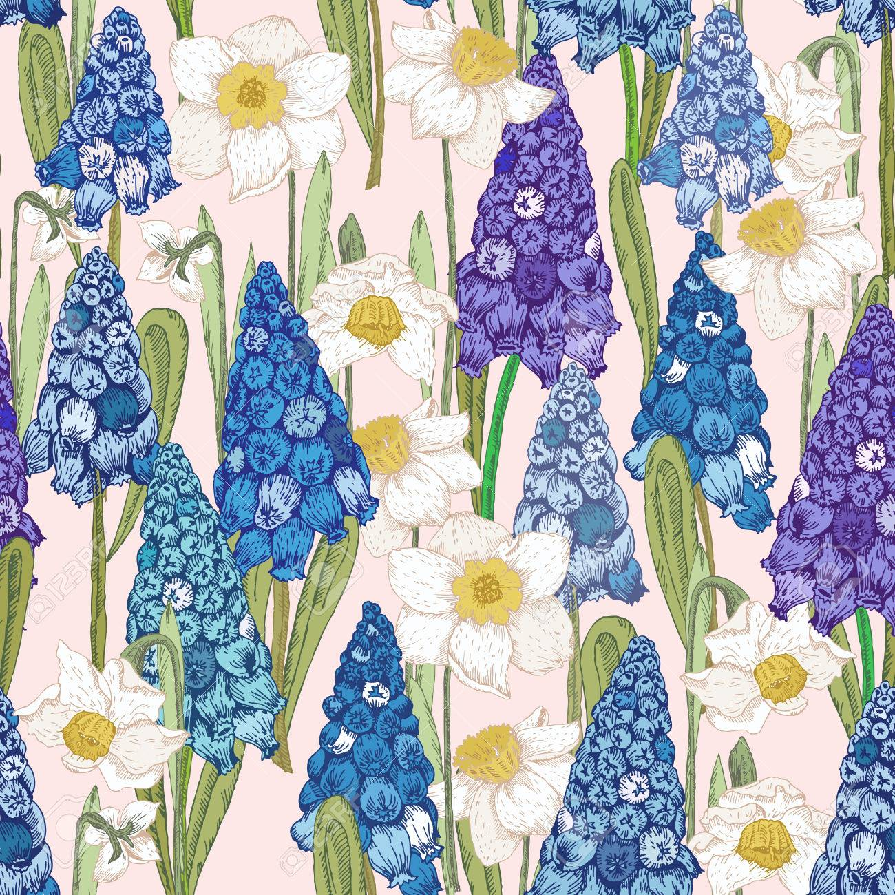 Seamless Pattern With Spring Flowers Hyacinth Summer Floral