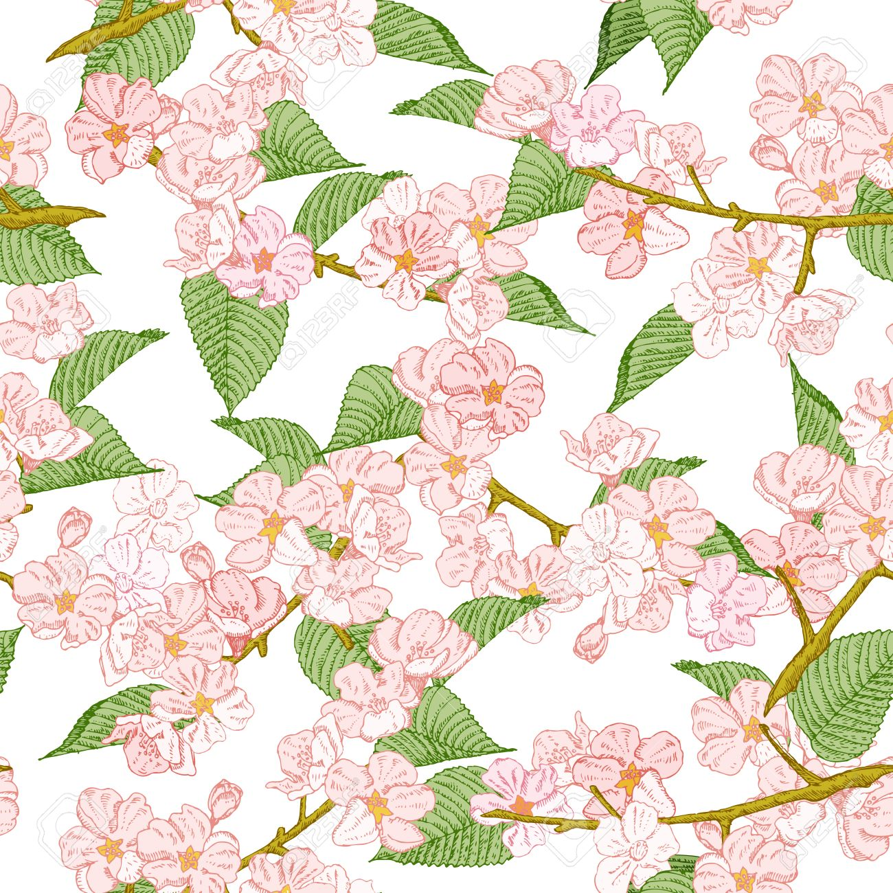 Seamless Pattern With Spring Flowers Apple And Cherry Blossom Summer Floral Background Texture