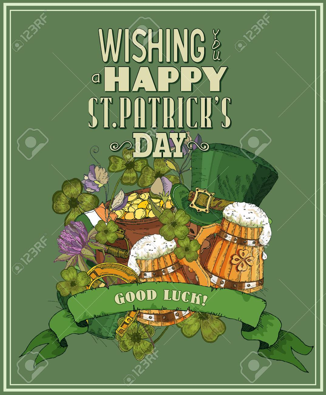 Poster design elements - Happy St Patricks Day Greeting Card Poster Design Elements For Patrick Day Stock Vector