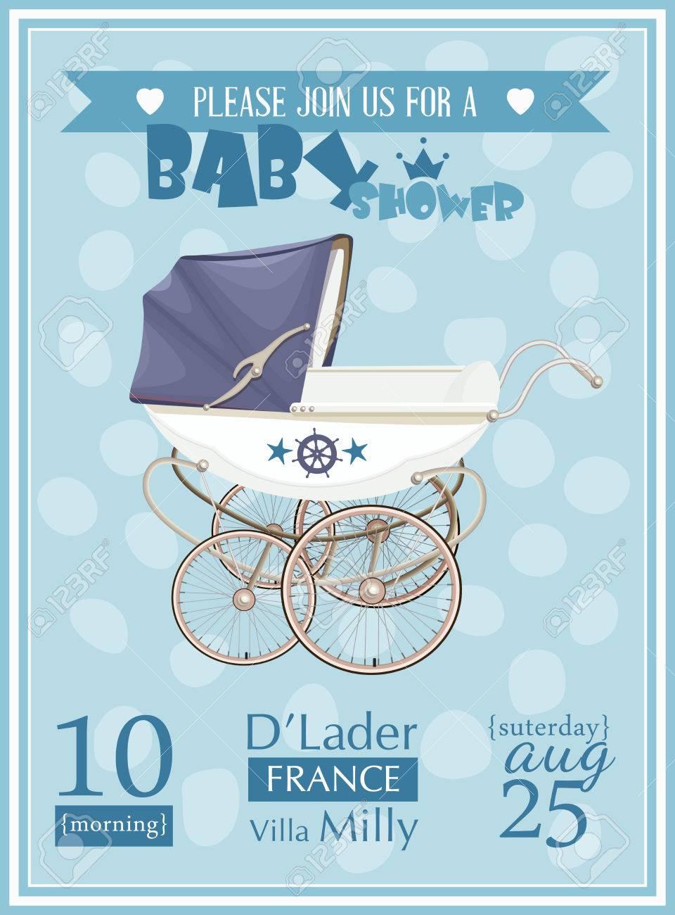 Baby Shower Garcon Template Vecteur Illustration Invitation Couleur