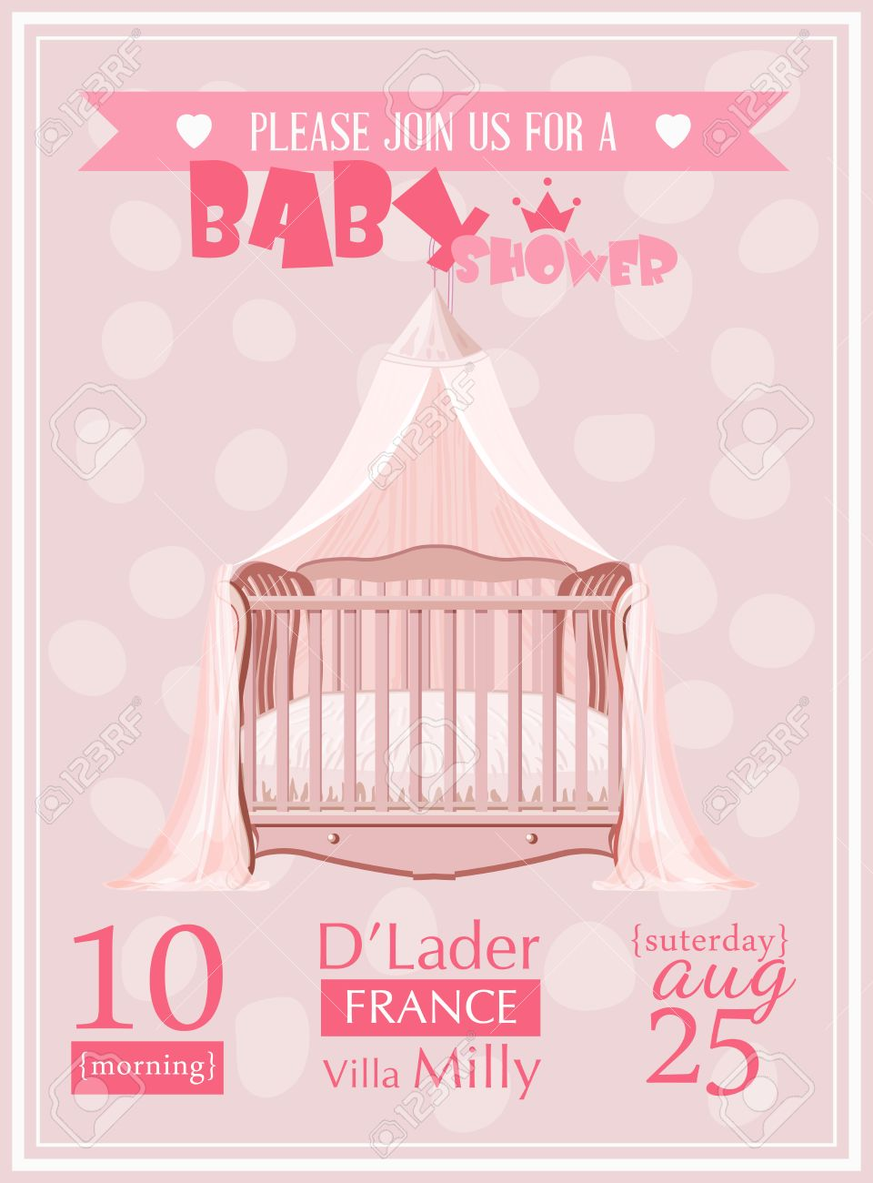baby shower girl invitation template vector illustration pink