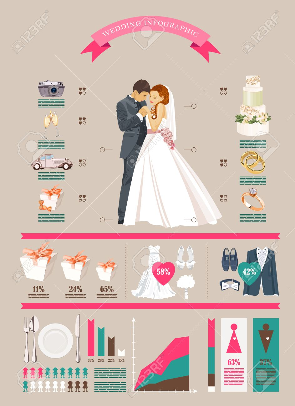 Wedding Vector Infographics Set Bride And Groom With
