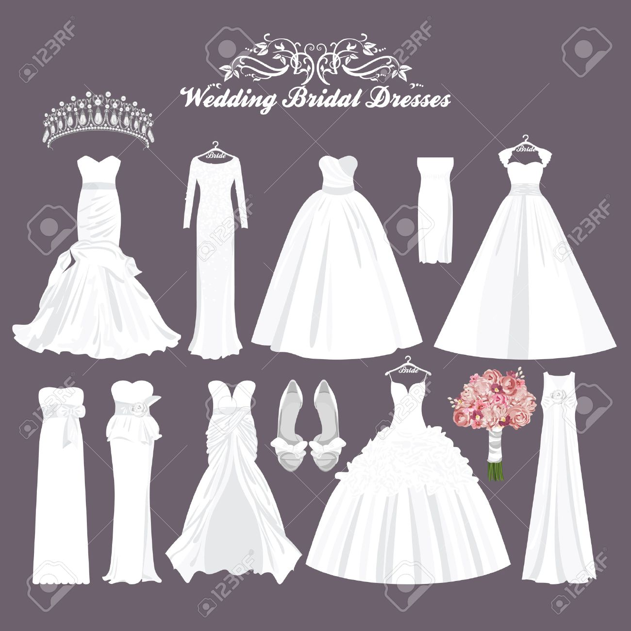 High Quality Vector Wedding Dresses In Different Styles. Fashion Bride Dress. White Dress,  Accessories Set