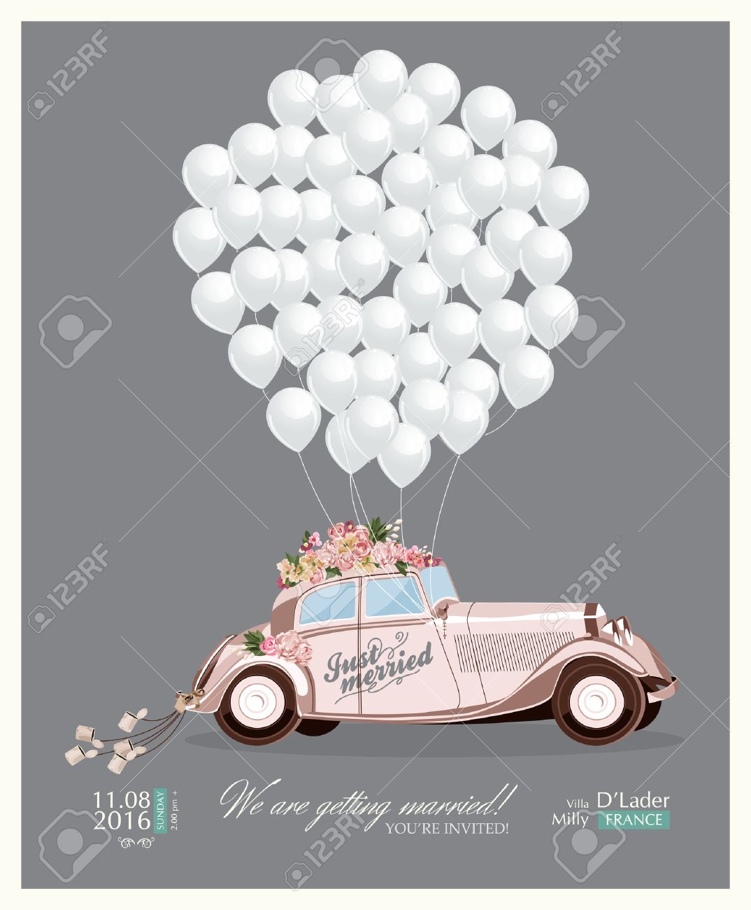 Vintage wedding invitation with just married retro car and white balloons Stock Vector - 43462753
