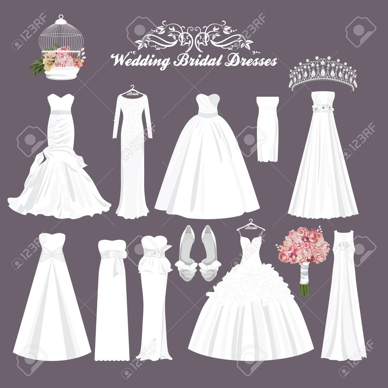 Vector Wedding Dresses In Different Styles. Fashion Bride Dress ...