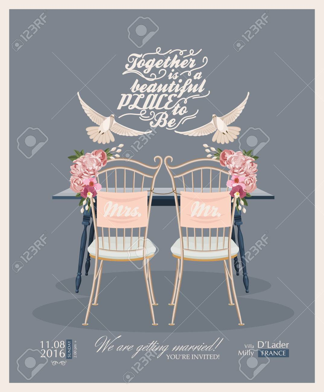 Wedding Vintage Invitation Card Template Vector Royalty Free ...