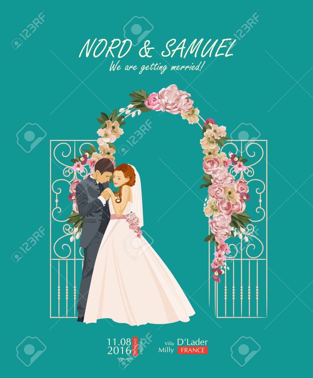 Wedding Vintage Invitation Card Template Vector With Bride And