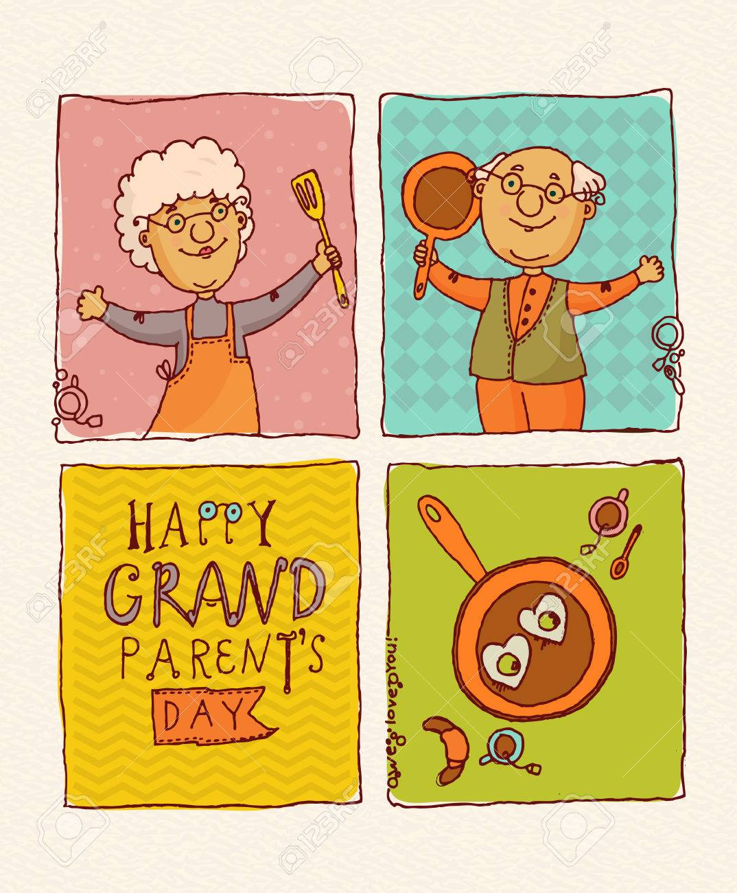 Happy Grandparents Day Vector Greeting Card In Doodle Design Happy