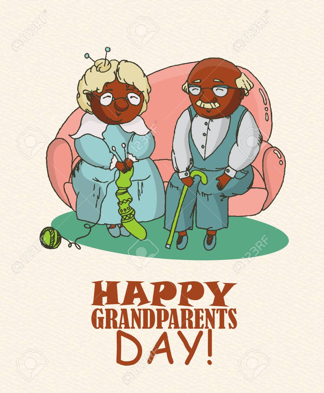 Happy grandparents day vector greeting card in doodle design happy grandparents day vector greeting card in doodle design happy couple african american retirees stock kristyandbryce Images
