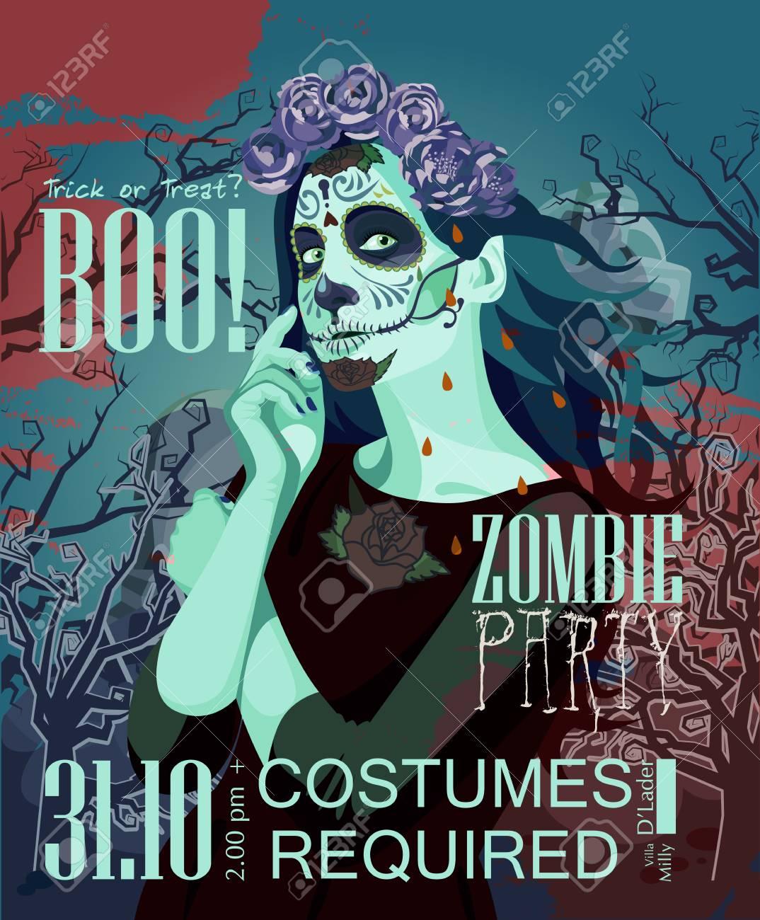 Feliz Halloween Vector Invitación Tarjeta Con Zombie