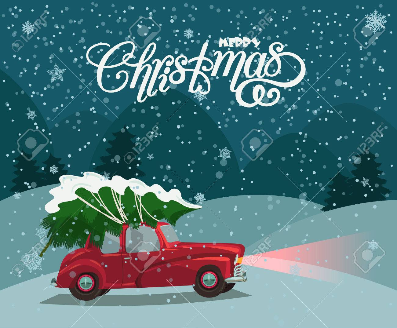 Christmas Landscape Card Design Of Retro Red Car With Tree On The Top Merry