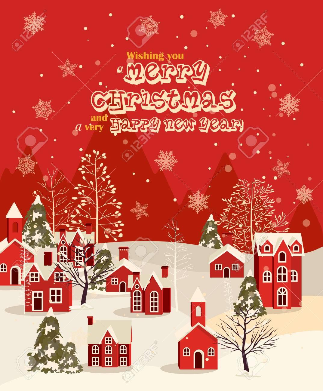 Foto Di Natale Con Auguri.Auguri Di Natale Con Casa D Epoca Citta Di Inverno Nevicate Illustrazione