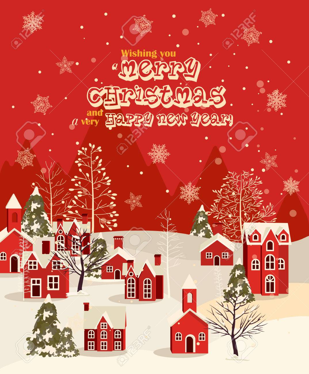 Christmas greeting card with vintage house winter town snowfall christmas greeting card with vintage house winter town snowfall illustration stock vector 50058043 m4hsunfo