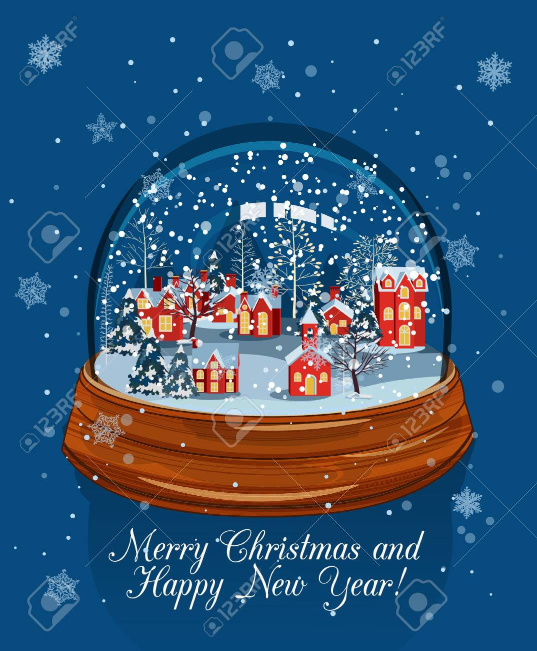 ガラスの雪のボールのクリスマス風景のイラストクリスマスの雪の世界の