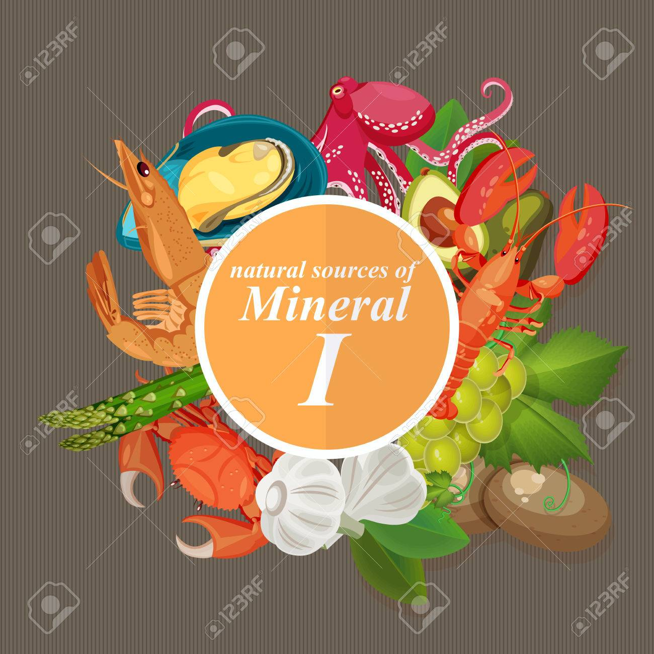 Groups of healthy fruit, vegetables, meat, fish and dairy products containing specific vitamins. Iodine. Minerals. - 51018543