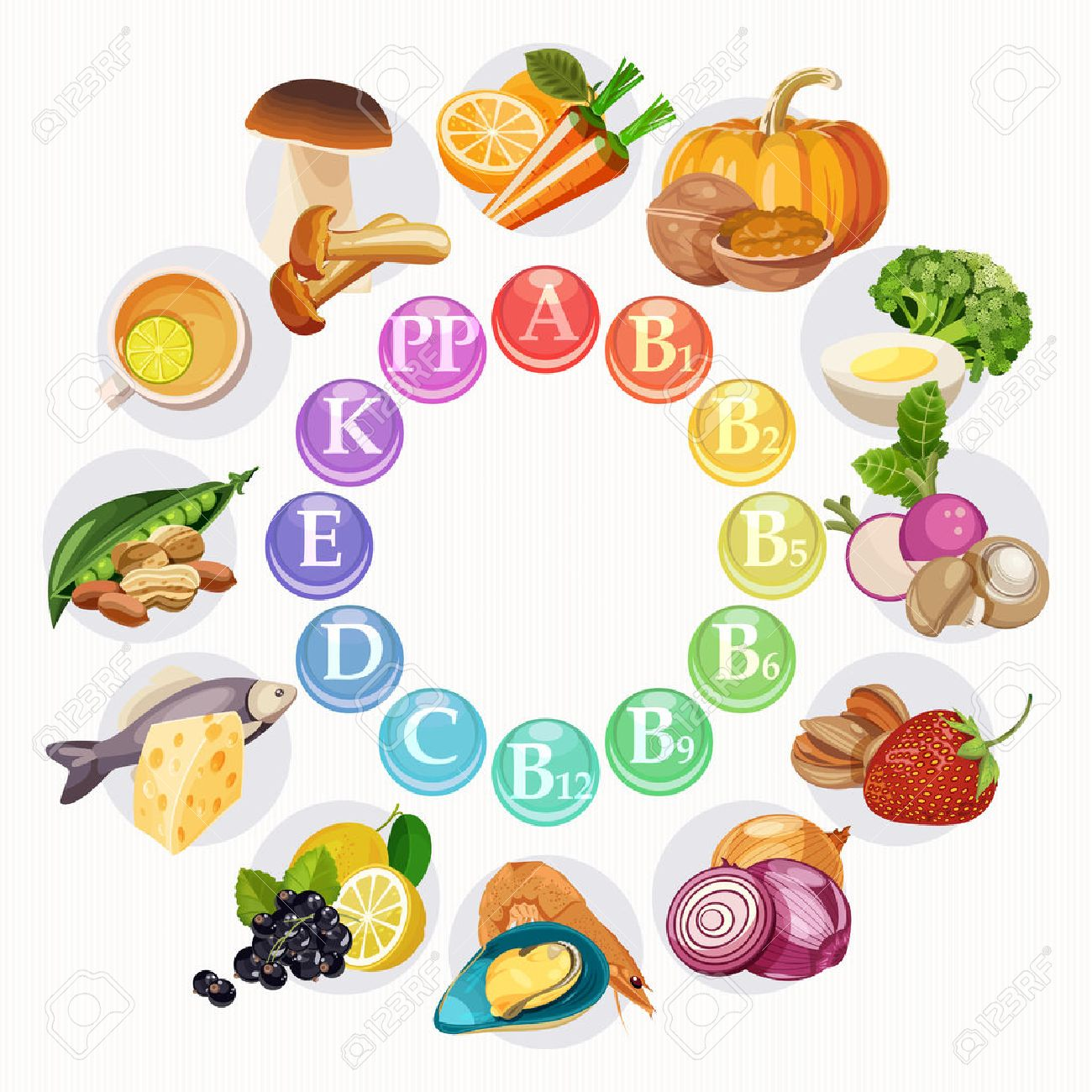 Vector illustration of vitamin groups in colored wheel. Light background - 51018560