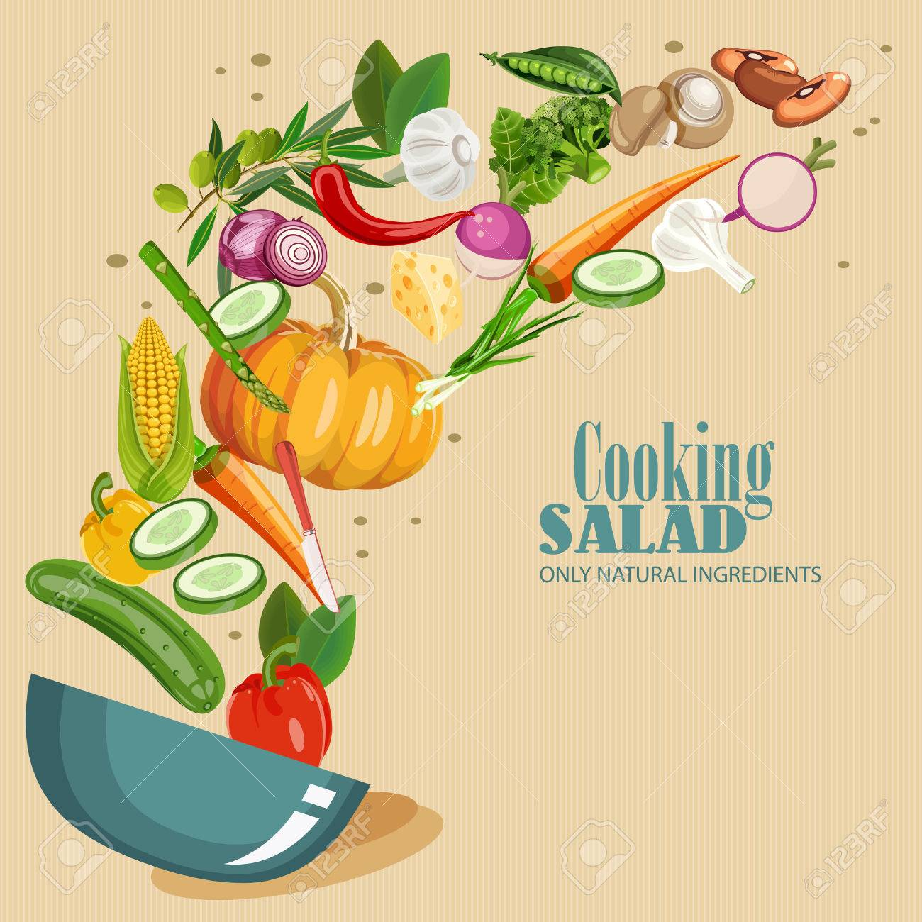 Cooking infographics. Fresh salad. Detailed Vector Icon. Series of food and drink and ingredients for cooking. - 51872721
