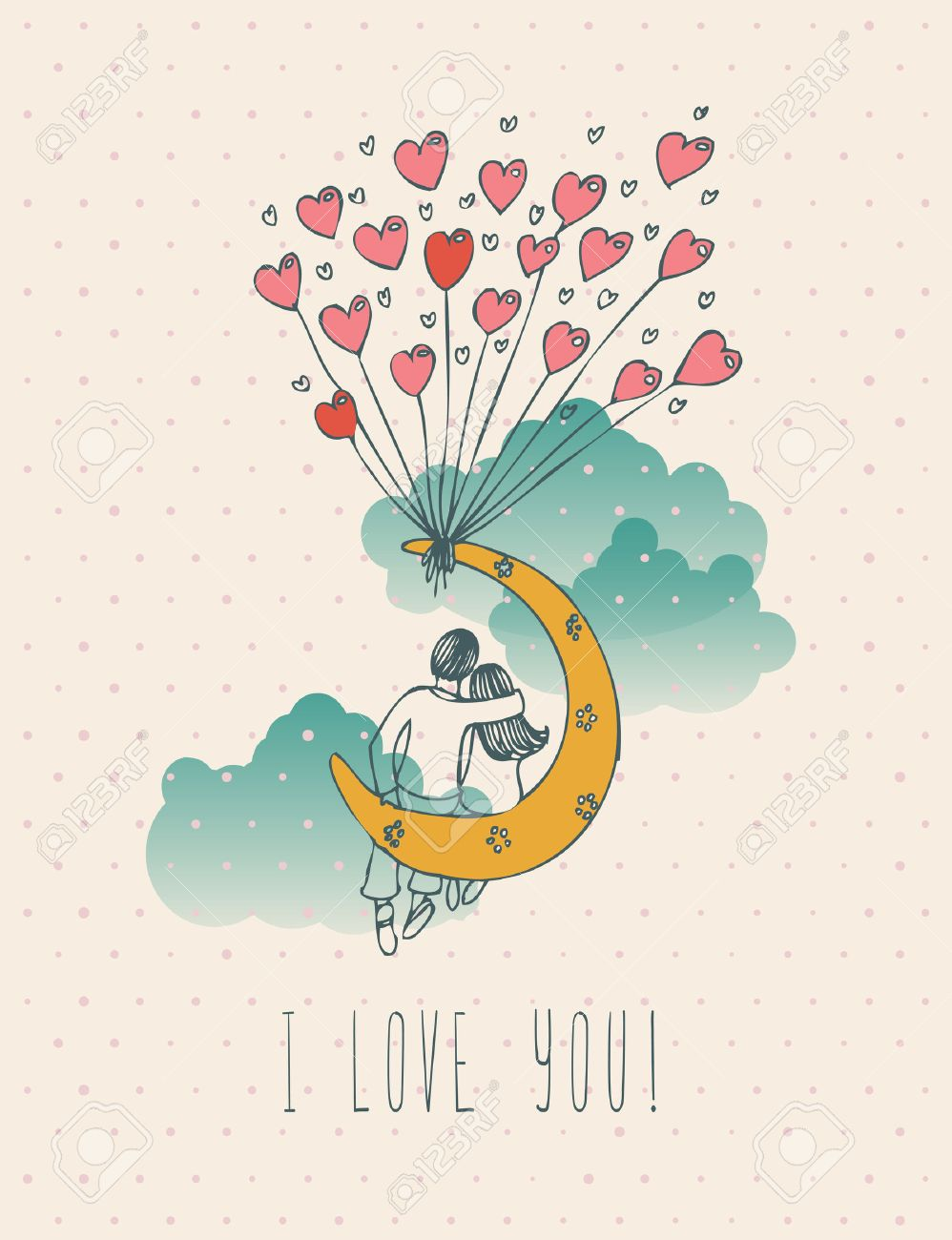 Valentines day greeting card in vintage hipster design. I love you retro note. Hand drawn style. - 51872861
