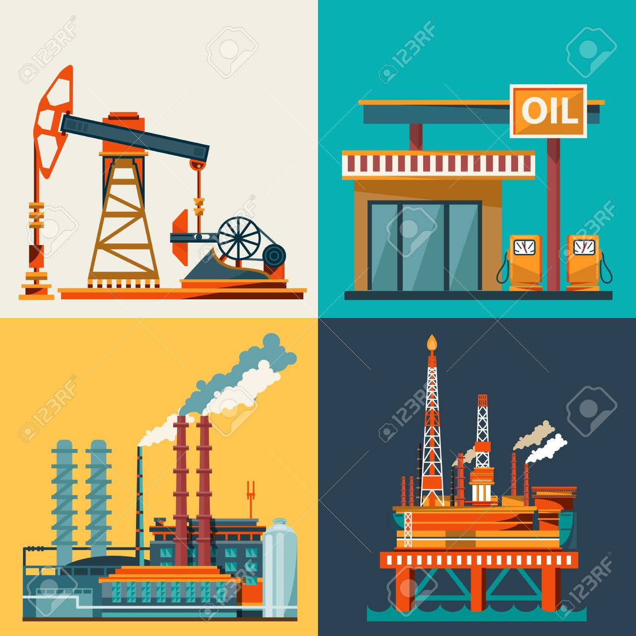 Oil industry business concept of gasoline diesel production fuel distribution and transportation icons composition illustration - 53103536
