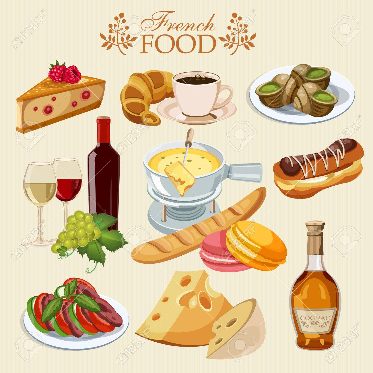 Vector Set Of French Cuisine National Food Of France Icons