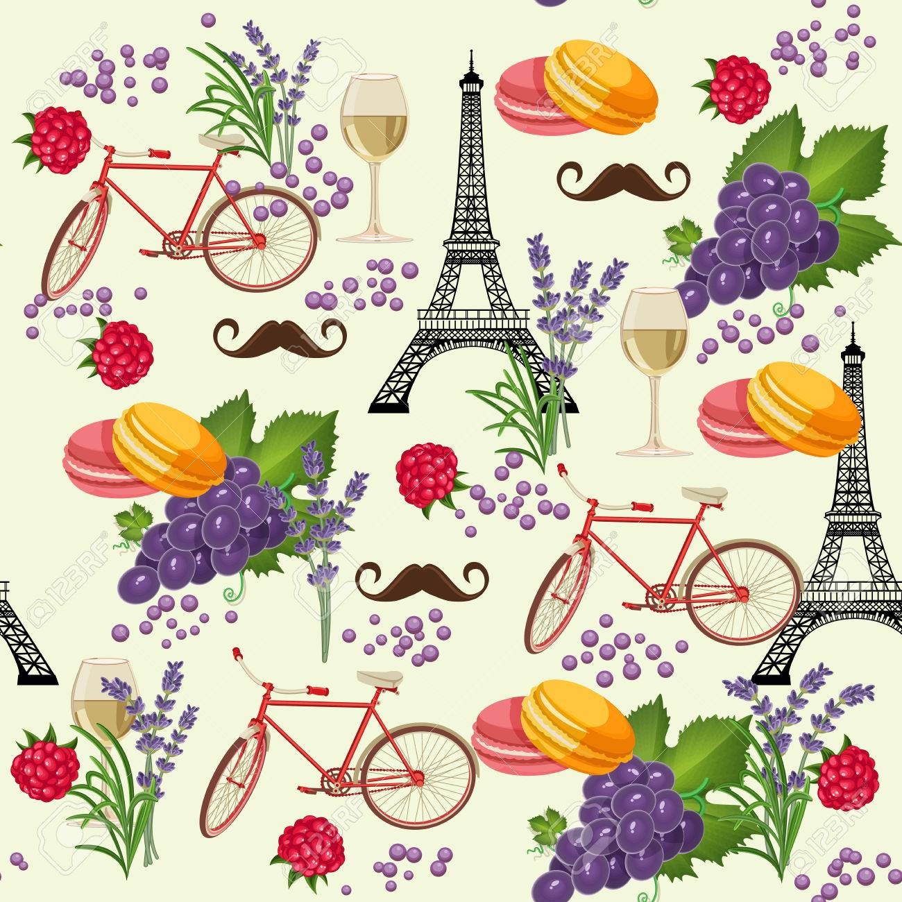 Seamless pattern in french style with food. Background for menu, cafeteria, cafe, restaurant with french cuisine. - 55484471