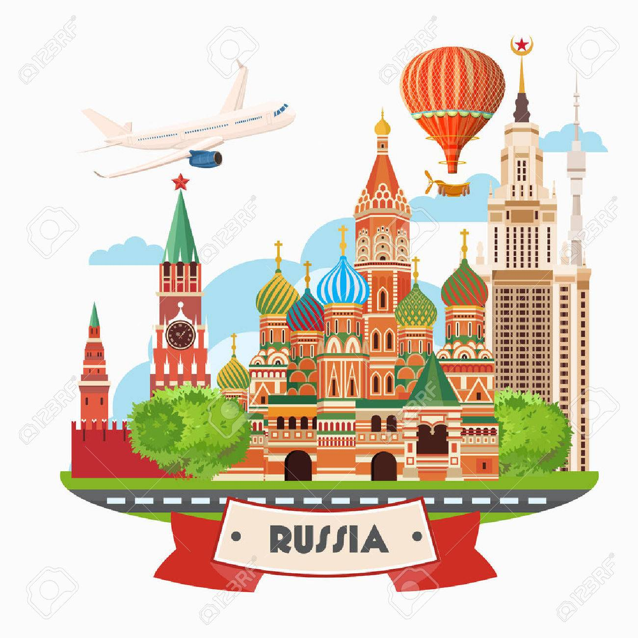 Russia vector poster. Russian background with city landmark. Travel concept. - 56672341