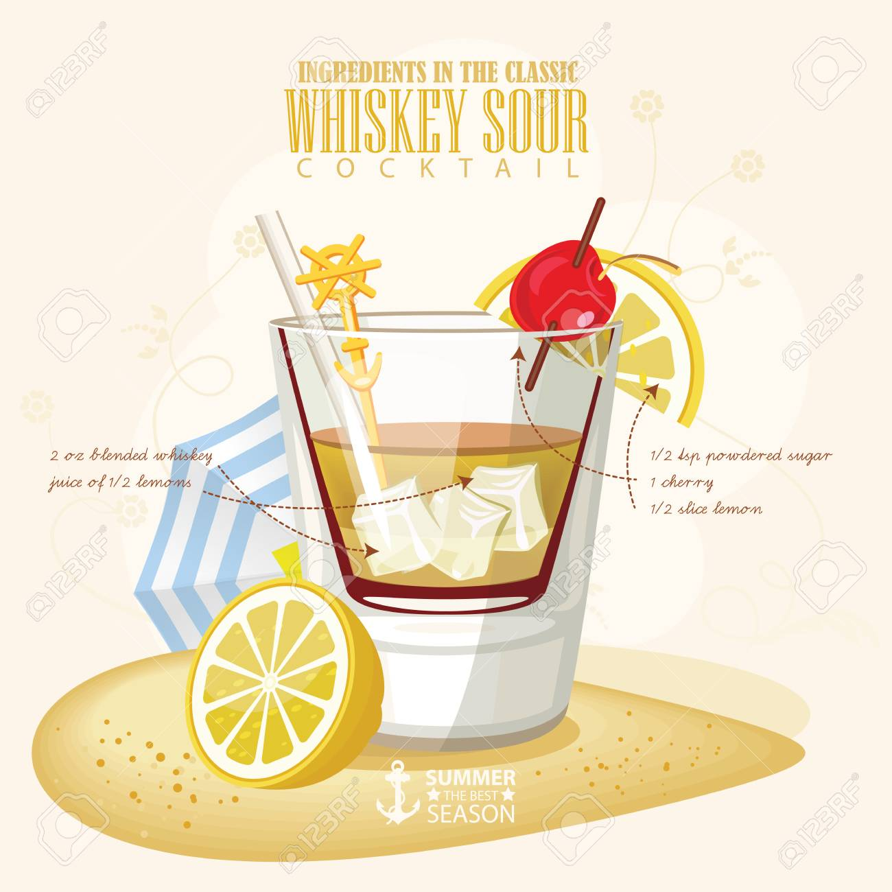 illustration of popular alcoholic cocktail. Whiskey Sour club alcohol shot. - 59589707