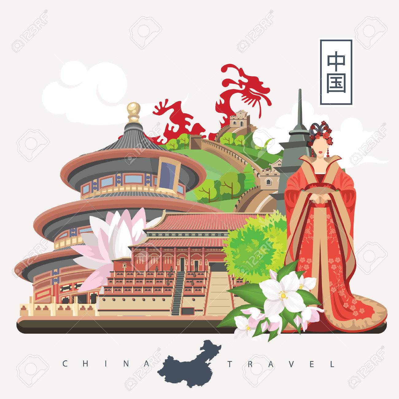 China Travel Vector Illustration Chinese Set With Architecture