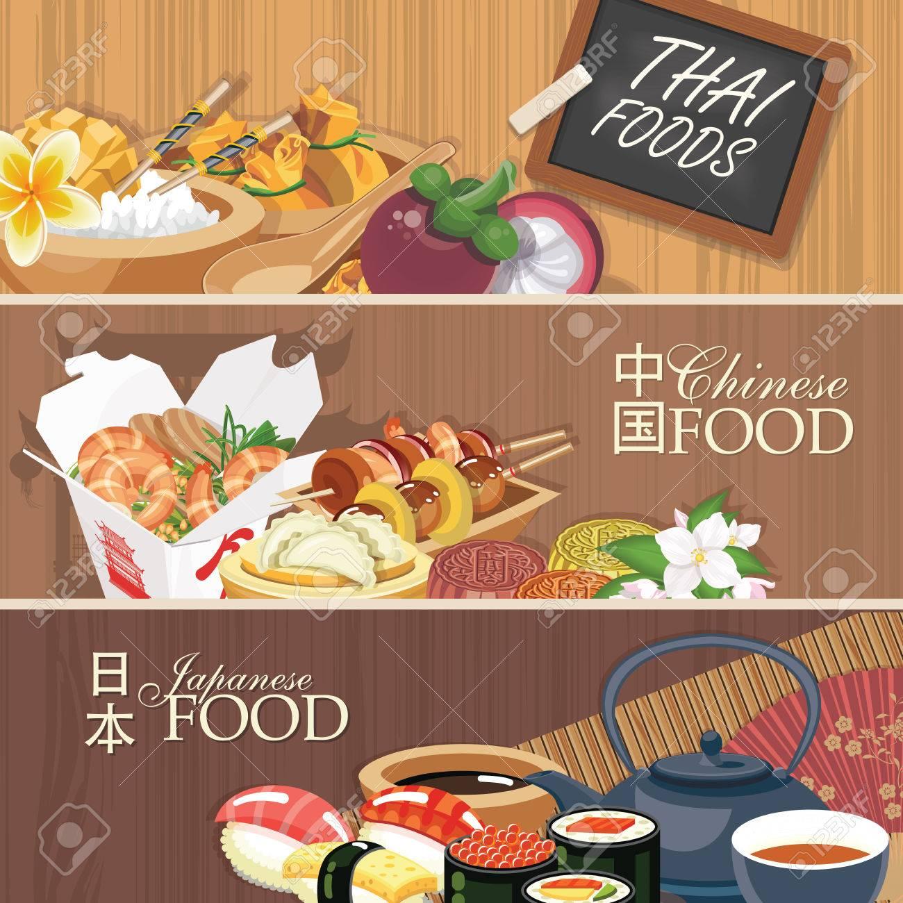 Asiatische Küche Poster. Traditionelle Nationale Gerichte Auf Einem ...