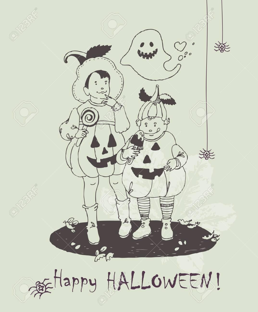 ハロウィンのグリーティング カード手はハロウィーンの怖い衣装に