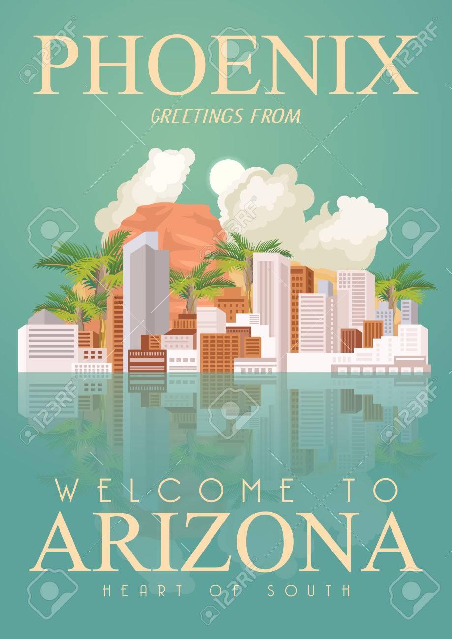 Arizona, Phoenix vector poster with american theme  Unites States