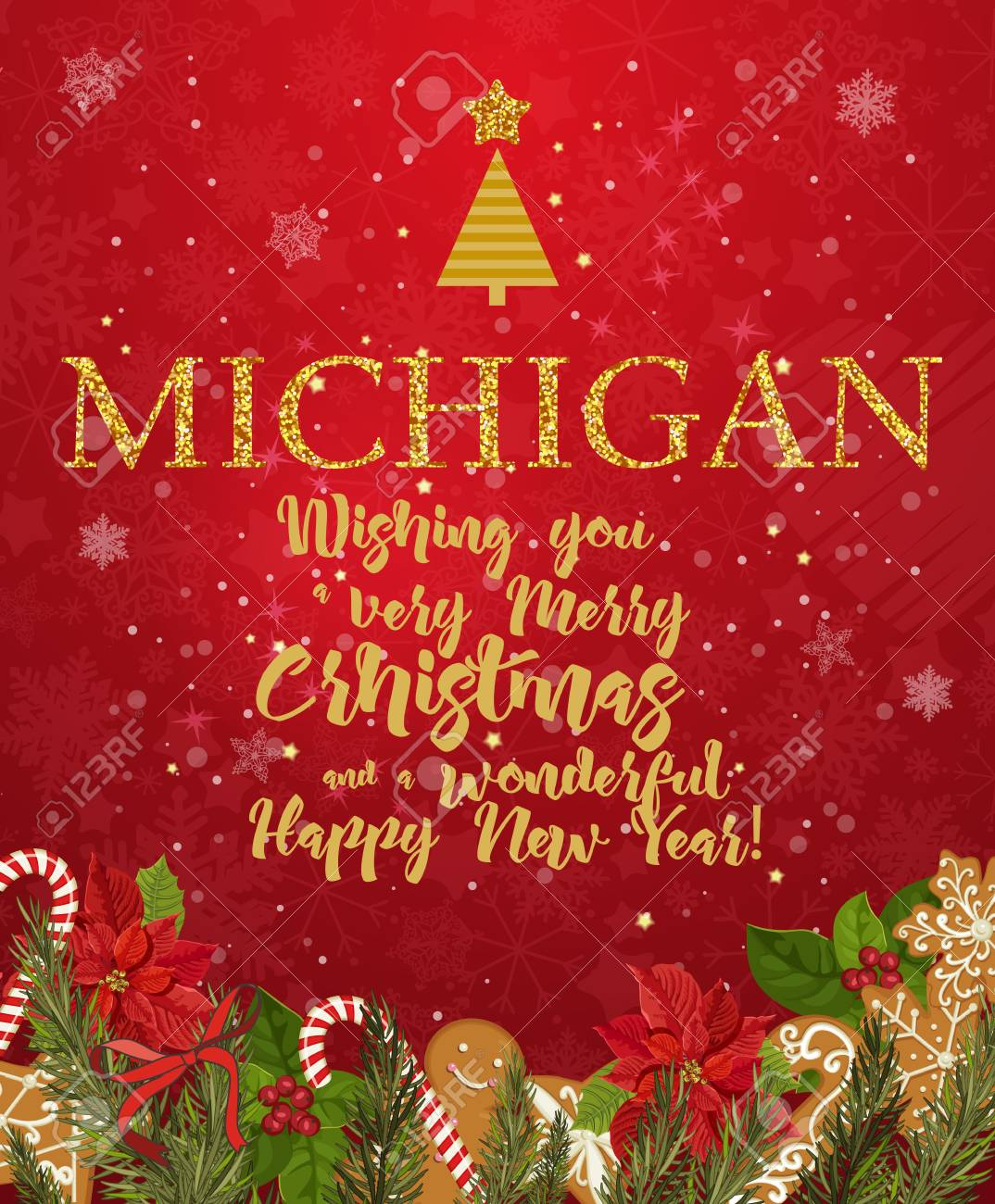 Michigan merry christmas and a happy new year greeting vector michigan merry christmas and a happy new year greeting vector card on red background with snowflakes m4hsunfo
