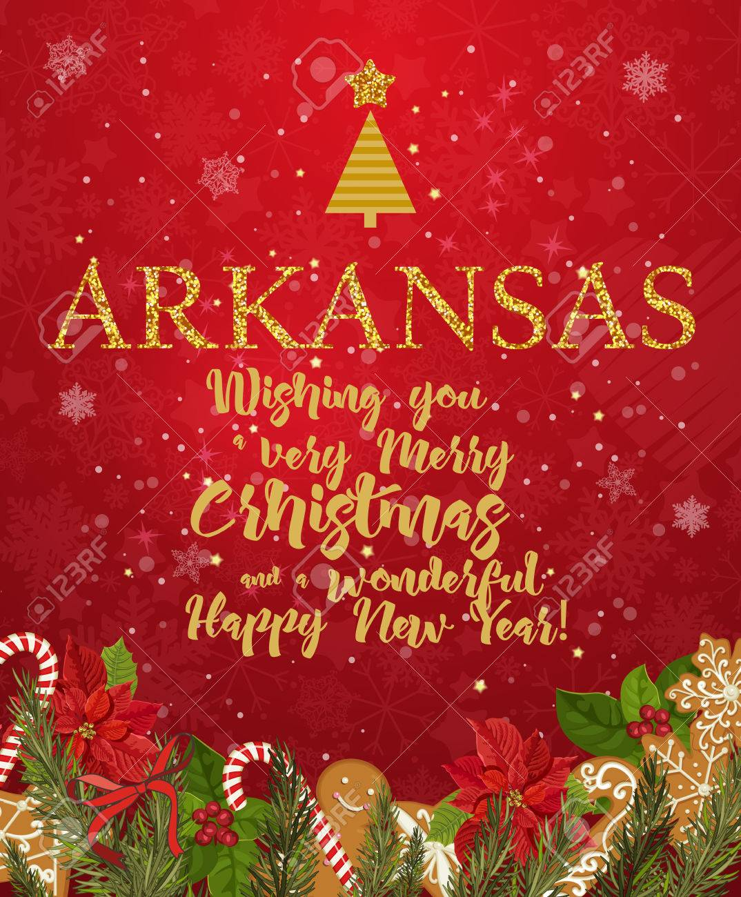 Arkansas merry christmas and a happy new year greeting vector arkansas merry christmas and a happy new year greeting vector card on red background with snowflakes m4hsunfo Image collections