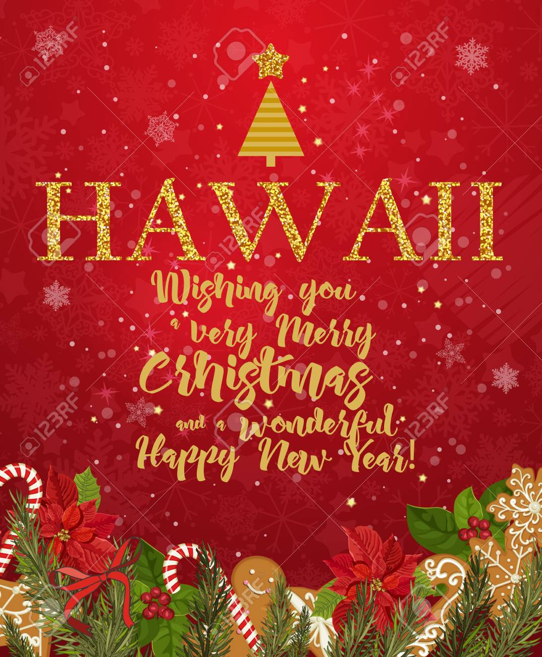 hawaii merry christmas and a happy new year greeting vector card on red background with snowflakes
