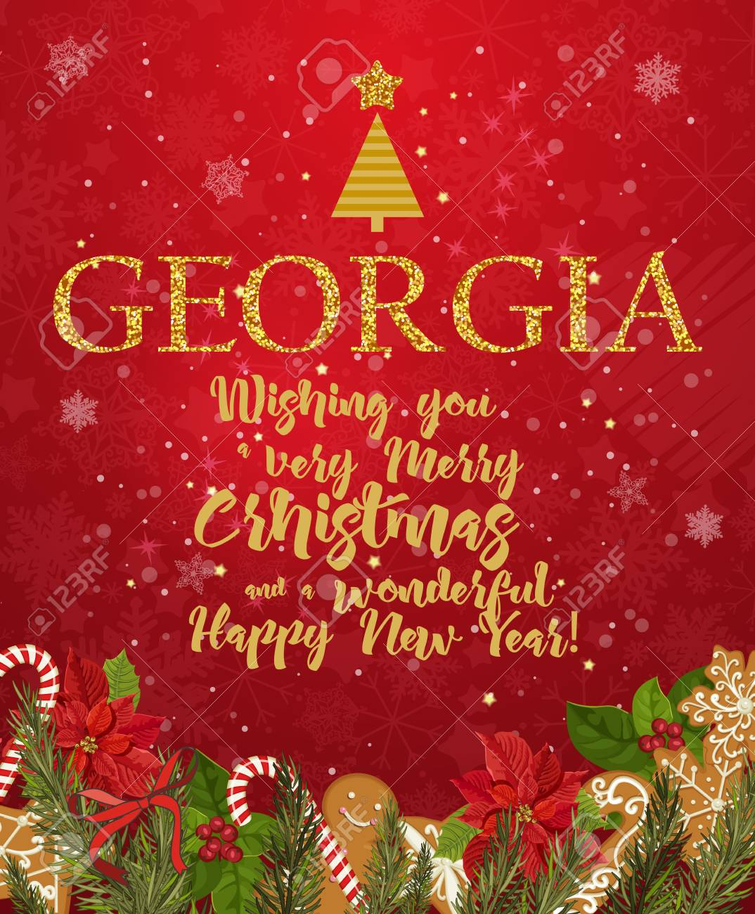 Georgia Merry Christmas And A Happy New Year Greeting Vector ...