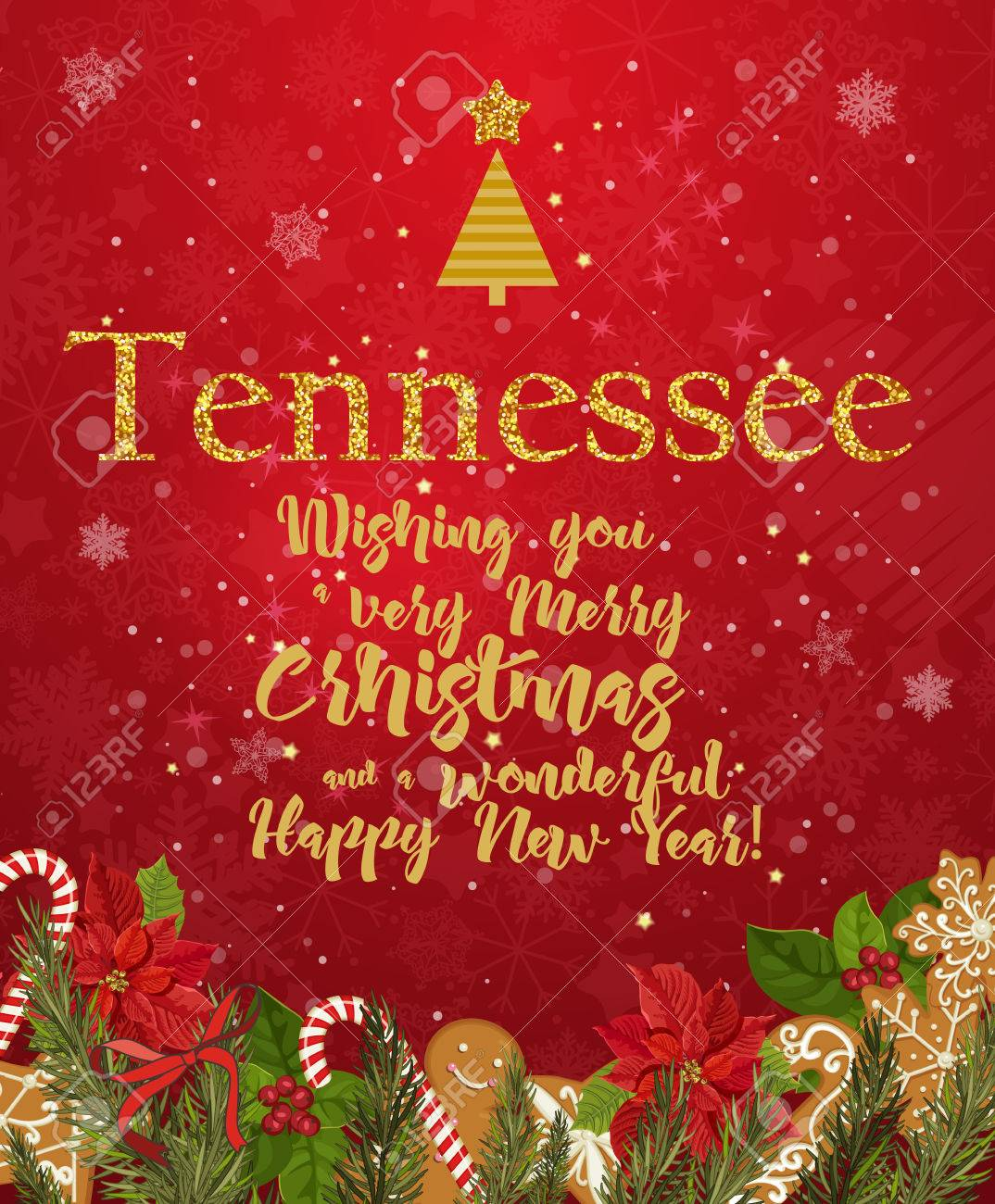 Christmas In Tennessee.Tennessee Merry Christmas And A Happy New Year Greeting Vector