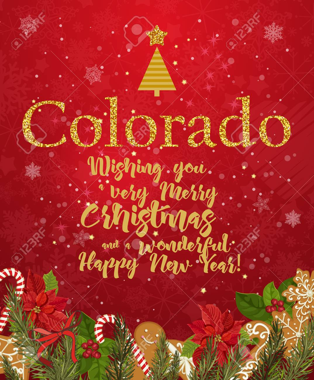 Colorado Merry Christmas And A Happy New Year Greeting Vector
