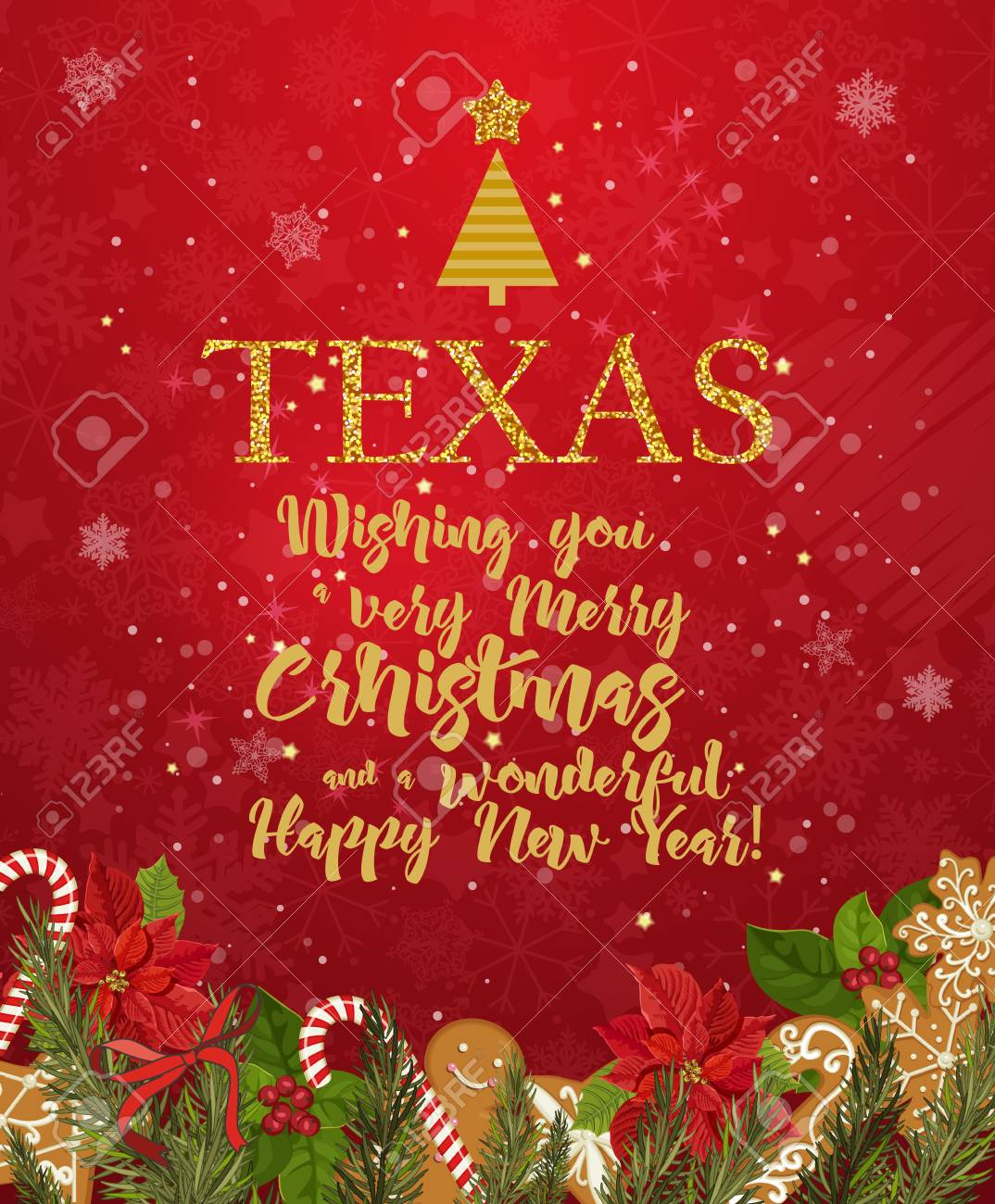 texas merry christmas and a happy new year greeting vector card on red background with snowflakes