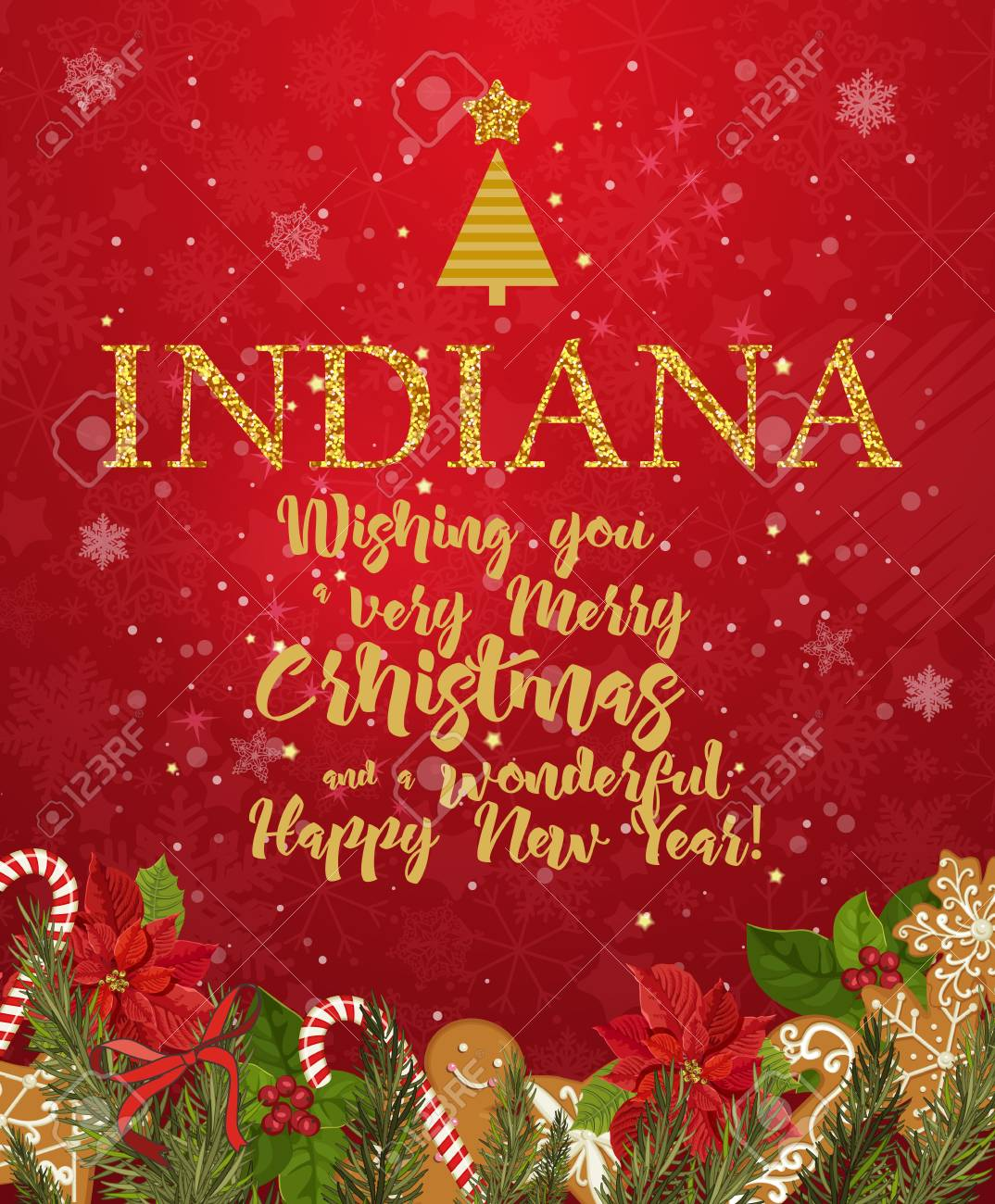 Christmas In Indiana.Indiana Merry Christmas And A Happy New Year Greeting Vector