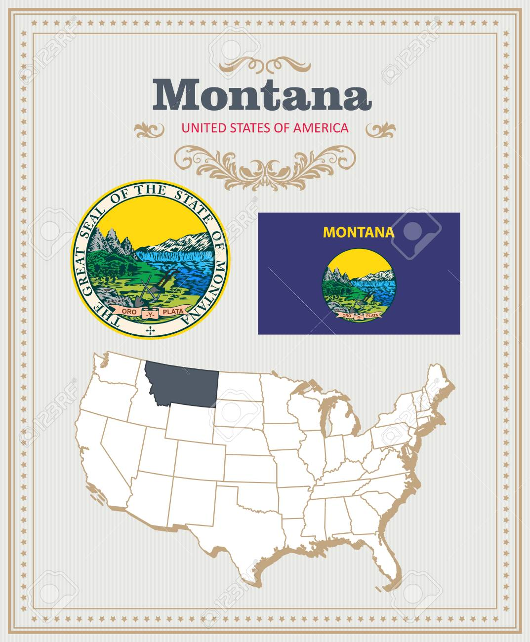 High detailed vector set with flag, coat of arms, map of Montana