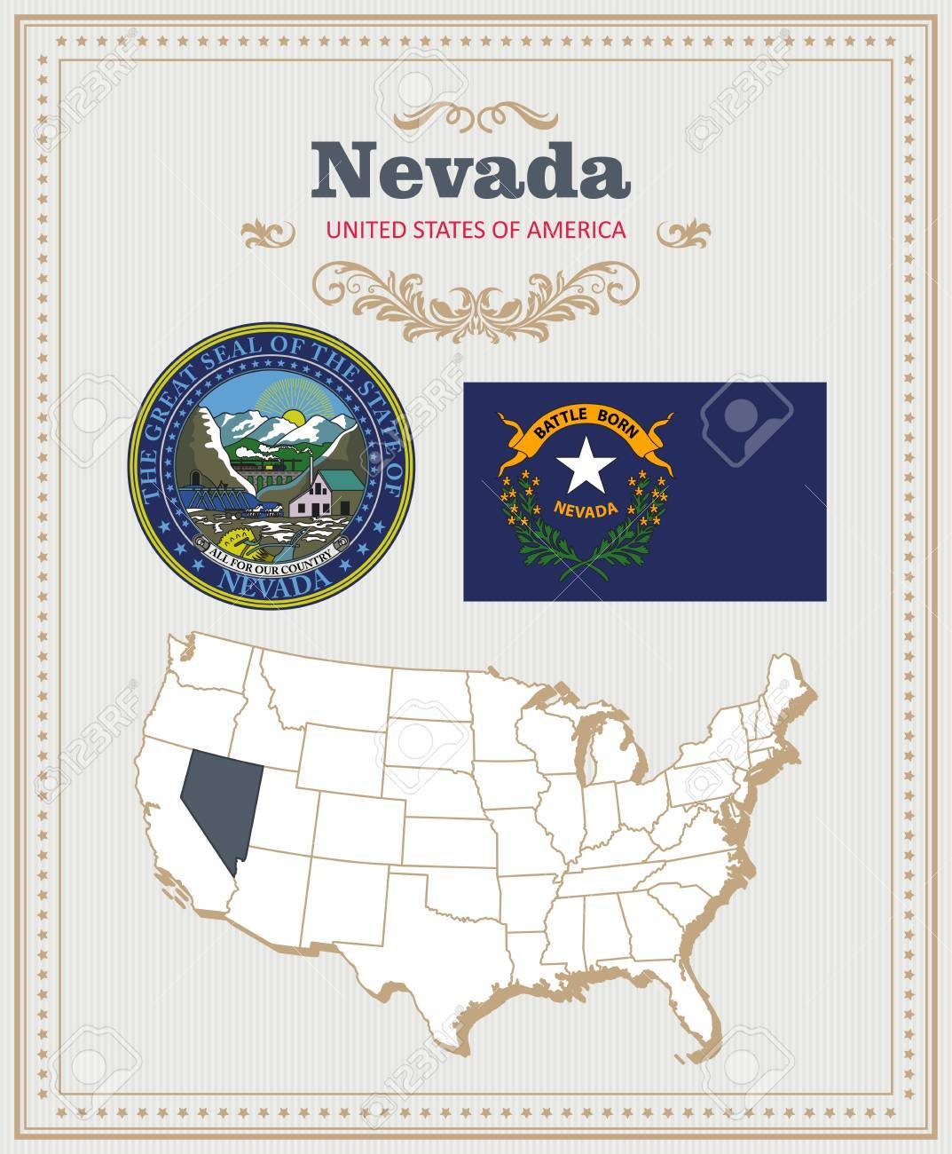 High detailed vector set with flag, coat of arms, map of Nevada